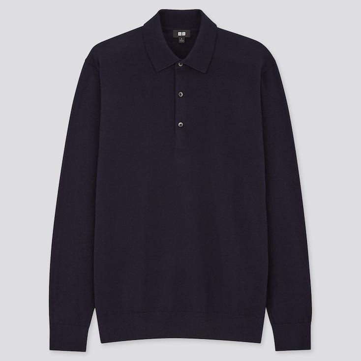 Homme 100/% Laine Mérinos Manche Longue Polo Shirt Tennis Top avec Bouton
