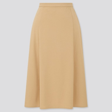 Women Crepe Jersey Flare Midi Skirt, Beige, Medium