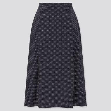 Women Crepe Jersey Flare Midi Skirt, Navy, Medium