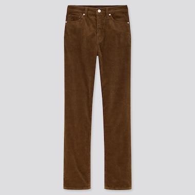 Women High Rise Slim Fit Straight Leg Corduroy Jeans