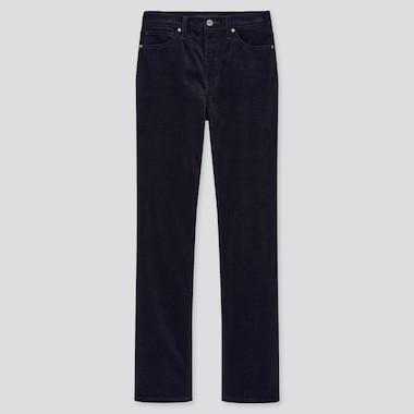 Jeans Velluto A Coste Slim Vita Alta Taglio Dritto Donna