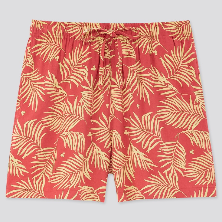 Women Mickey Aloha Relaco Shorts, Red, Large