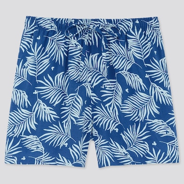 Women Mickey Aloha Relaco Shorts, Blue, Medium
