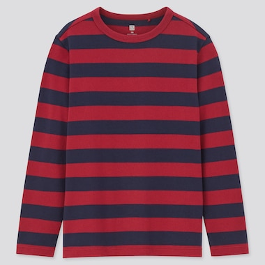 Kids Striped Crew Neck Long-Sleeve T-Shirt, Red, Medium