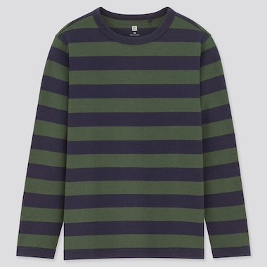Kids Striped Crew Neck Long-Sleeve T-Shirt, Green, Medium