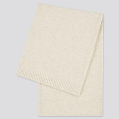 Women Souffle Yarn Knitted Scarf, Off White, Medium