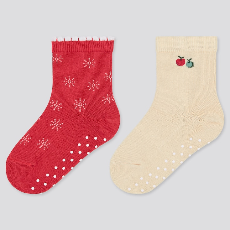 Baby Socks (2 Pairs), Red, Large