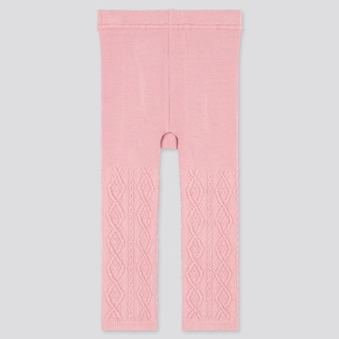 Baby Full-Length Knitted Leggings, Pink, Medium