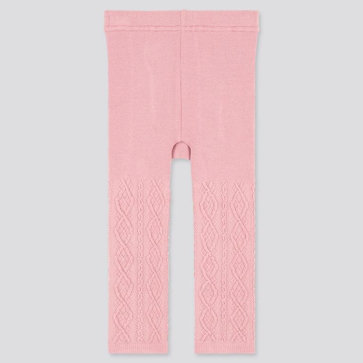 Baby Full-Length Knitted Leggings, Pink, Large