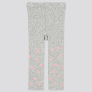 Baby Full-Length Knitted Leggings, Gray, Medium