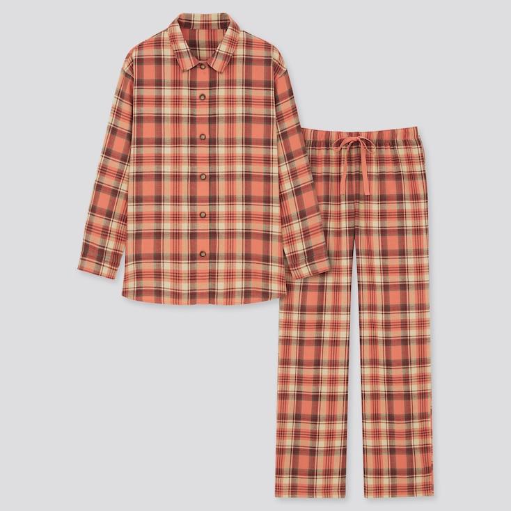 Women Flannel Long-Sleeve Pajamas, Orange, Large