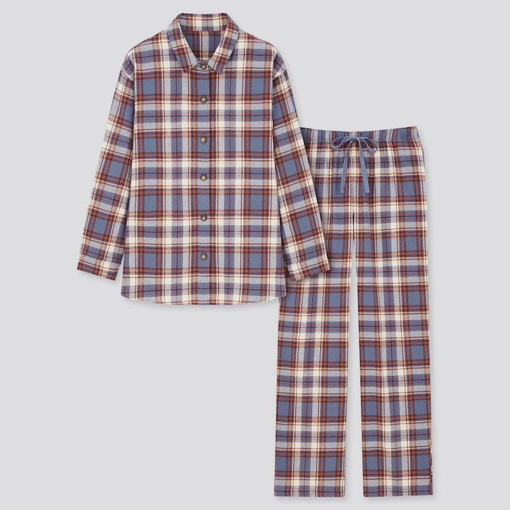 Women Flannel Long-Sleeve Pajamas, Blue, Large