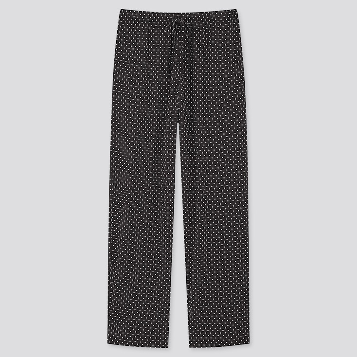 Women Drape Jersey Straight Pants, Black, Large