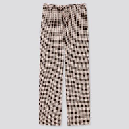Pantalón Fluido Recto Estampado Geométrico Mujer