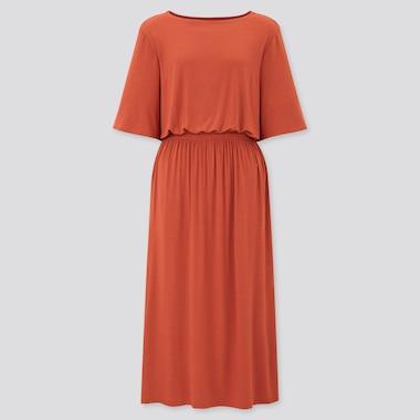 Women Drape Half-Sleeve Jersey Dress, Orange, Medium