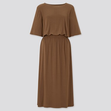 Women Drape Jersey Half Sleeved Dress