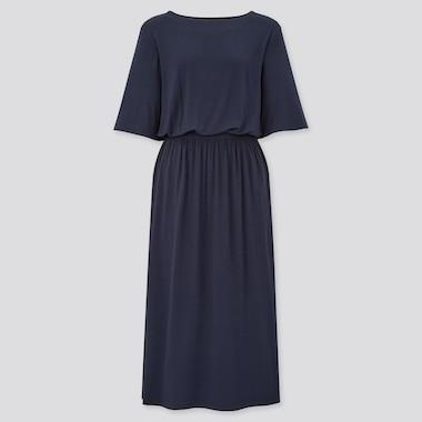 Women Drape Half-Sleeve Jersey Dress, Navy, Medium