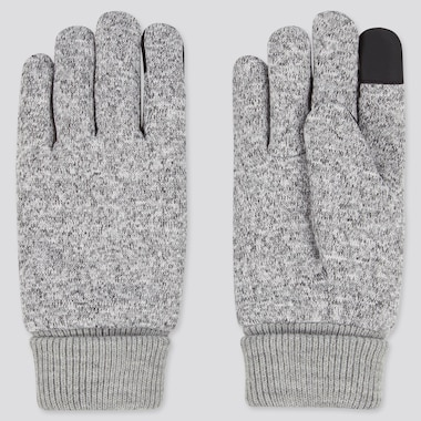 Men Heattech-Lined Knitted Fleece Gloves, Light Gray, Medium