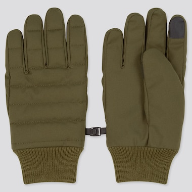 Men Heattech-Lined Quilted Gloves, Dark Green, Medium