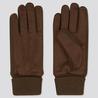 Men Heattech-Lined Faux Suede Gloves, Dark Brown, Medium