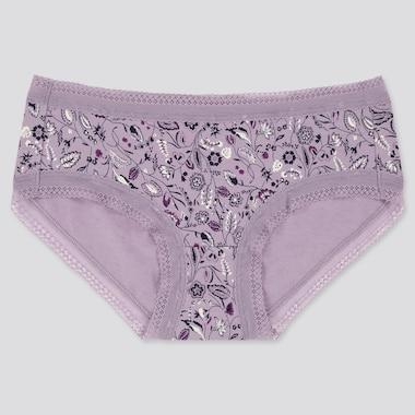 Women Paisley Flower Hiphugger, Purple, Medium