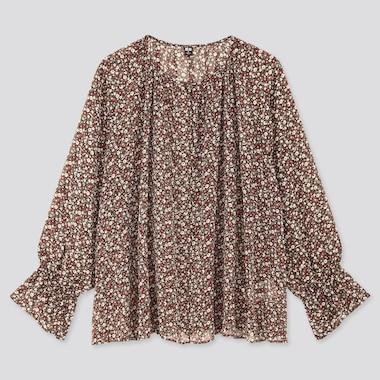 Women Joy Of Print Chiffon 3/4 Sleeve Blouse, Dark Brown, Medium