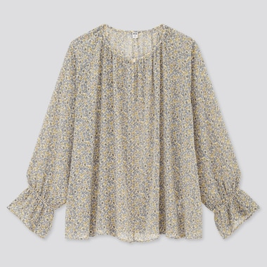 Women Joy Of Print Chiffon 3/4 Sleeve Blouse, Cream, Medium