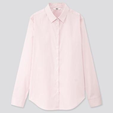 Women Supima® Cotton Stretch Striped Long-Sleeve Shirt, Pink, Medium