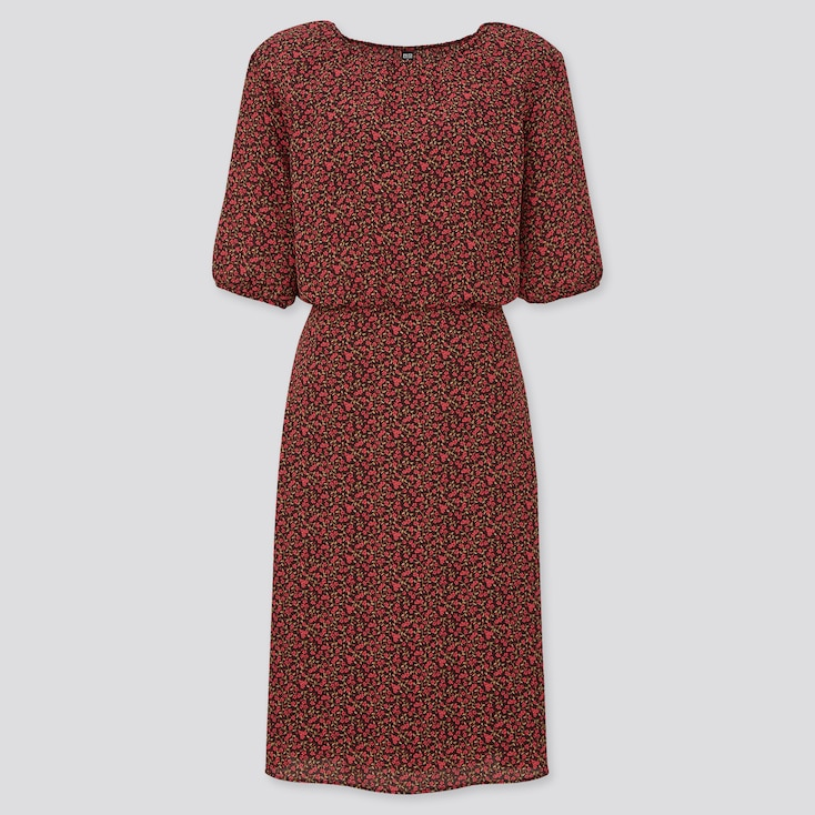 Women Georgette Printed Half Sleeve Flare Dress, Red, Large