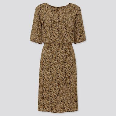 Women Georgette Printed Half Sleeve Flare Dress, Yellow, Medium