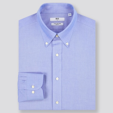 Men Super Non-Iron Slim-Fit Long-Sleeve Shirt, Blue, Medium