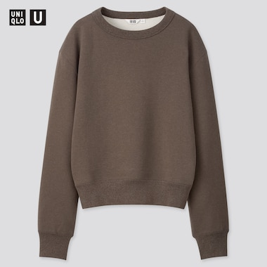 Women U Crew Neck Long-Sleeve Sweatshirt, Dark Brown, Medium