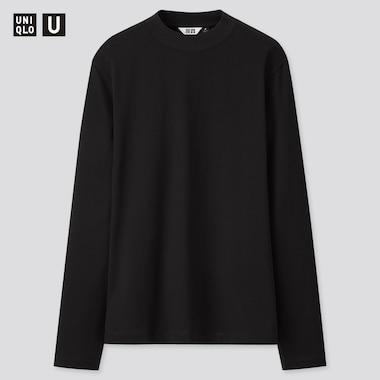 Women U Mercerized Cotton Mock Neck Long-Sleeve T-Shirt, Black, Medium