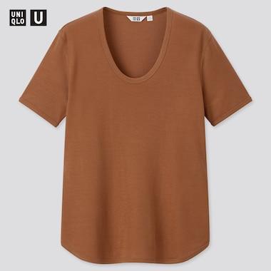 Women U Ribbed Round Neck Short-Sleeve T-Shirt, Brown, Medium