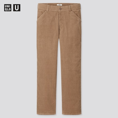 Men U Corduroy Regular-Fit Straight Pants, Brown, Medium