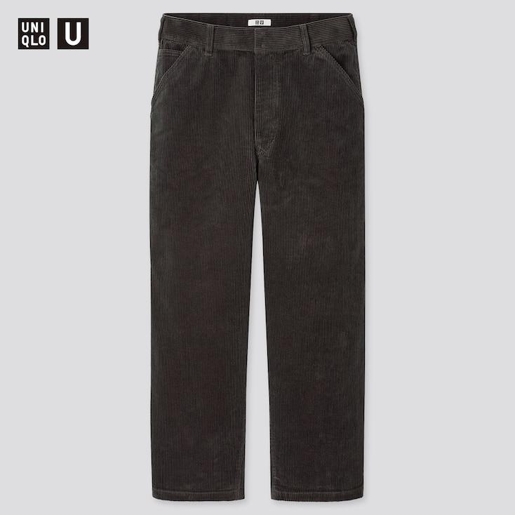 Men U Corduroy Wide-Fit Work Pants, Dark Gray, Large