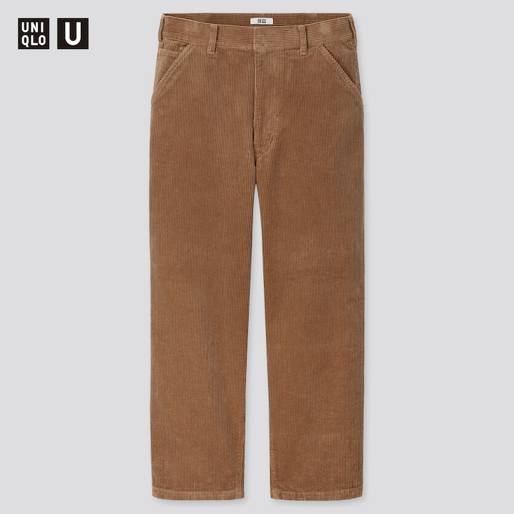 Men U Corduroy Wide-Fit Work Pants, Brown, Large
