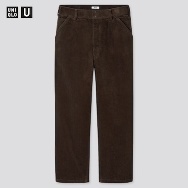 Men U Corduroy Wide-Fit Work Pants, Dark Brown, Medium