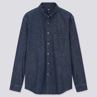 Men Denim Slim Fit Long Sleeved Shirt (Regular Collar)