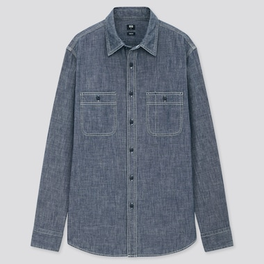 Men Chambray Work Slim Fit Long Sleeved Shirt (Regular Collar)