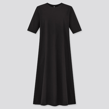Women Mercerized Cotton Half-Sleeve A-Line Dress, Black, Medium