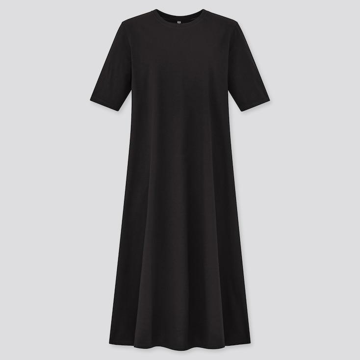 Women Mercerized Cotton Half-Sleeve A-Line Dress, Black, Large