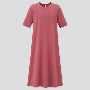 Women Mercerised Cotton Half Sleeved A-Line Dress