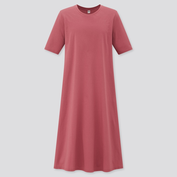 Women Mercerized Cotton Half-Sleeve A-Line Dress, Purple, Large