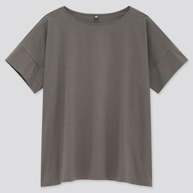 T-Shirt en Coton Col Bateau Manches Courtes Femme