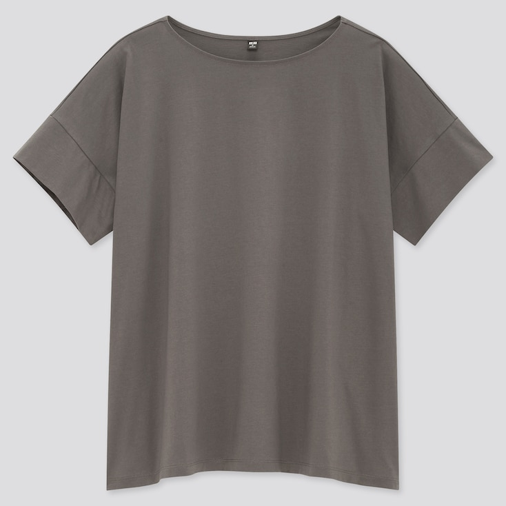 Women Mercerized Cotton Boat-Neck Short-Sleeve T-Shirt, Gray, Large