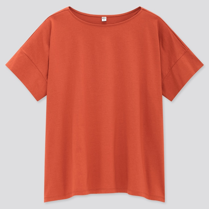 Women Mercerized Cotton Boat-Neck Short-Sleeve T-Shirt, Orange, Large