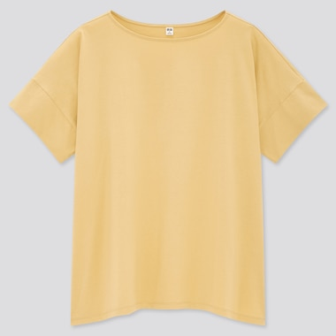 Women Mercerized Cotton Boat-Neck Short-Sleeve T-Shirt, Beige, Medium