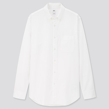 Men Oxford Slim-Fit Long-Sleeve Shirt, Off White, Medium