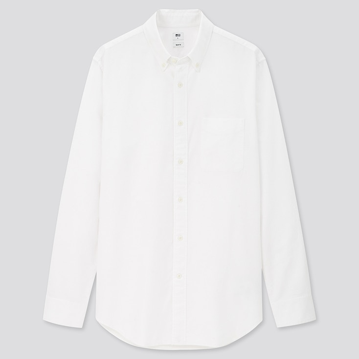 Men Oxford Slim-Fit Long-Sleeve Shirt, Off White, Large